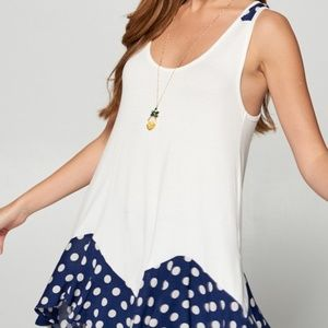 Navy and White Polka Dot Accent Tank Top